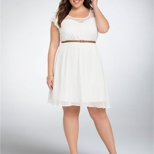 Ruffle Lace Inset Belted Skater Dress Size 2 Ivory